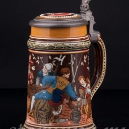 Старинная пивная Кружка Ландскнехты, Villeroy & Boch, Mettlach, Германия, 1890 г.