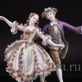 Фарфоровая статуэтка танцовщицы Мари Анн Камарго с кавалером, Dressel, Kister & Cie, Германия, нач. 20 в.
