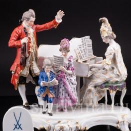 Старинная фарфоровая композиция Домашний концерт (Семья Моцарта), Meissen, Германия, 1903-1925 гг.