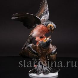 """Фарфоровая статуэтка птиц """"Зяблики-драчуны"""", Rosenthal, Германия, 1950 гг."""