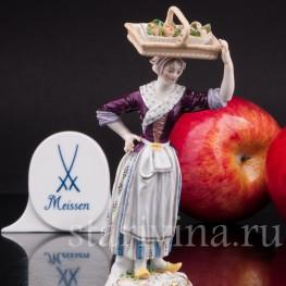 Фарфоровая статуэтка Продавщица яблок, Meissen, Германия, сер. 19 - нач. 20 вв.