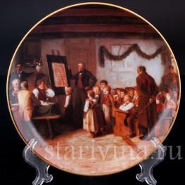 Декоративная фарфоровая тарелка Школьный экзамен, Швейцария,, 1996 год.