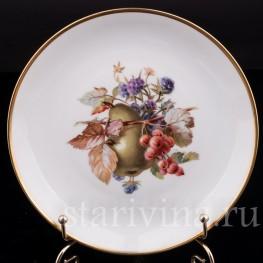Декоративная фарфоровая тарелка Груша, смородина, ежевика, Rosenthal, Германия, 1920 гг.
